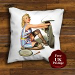 Vintage Retro Pin up Girl Changing Tyre Design Cushion Cover Handmade 16 or 18