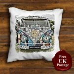 VW Camper van Splitscreen Love and Peace Unique Design Cushion Cover Handmade