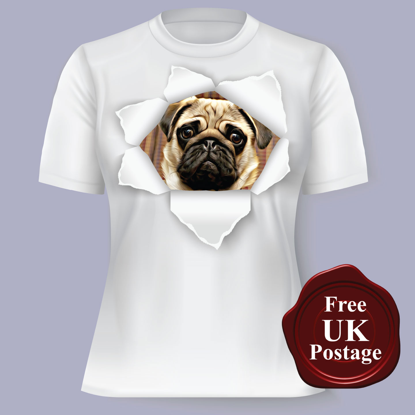 Pug T shirt Wrinkly /& Proud Choice of size /& colours,