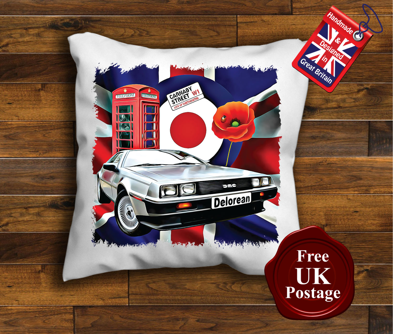 Delorean Cushion Cover Delorean Cushion Union Jack Mod
